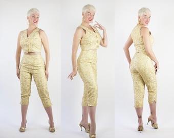 DESIGNER 1950s Style 2 Piece Metallic Gold Lurex Silk Cropped Blouse & High Waisted Capri Pants w/ Gold Soutache by Carmen Marc Valvo - M