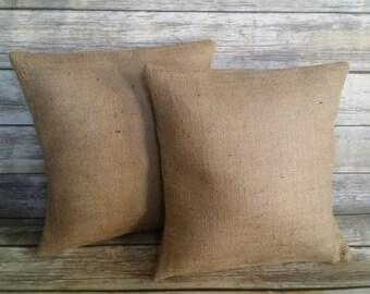 SET OF 2 burlap pillow covers, burlap pillow, burlap pillow set, burlap pillows, burlap, pillows, burlap decor, burlap home decor, pillow