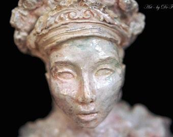 Blooming Nymph. Sculpture Bust by Fae Factory Visionary Artist Dr Franky Dolan (Original Spiritual Art Pagan Art Sculpture Clay Bust statue)