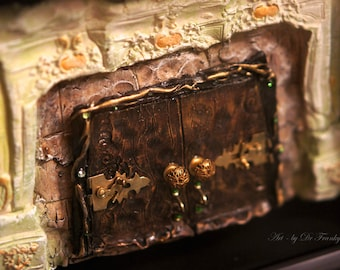 Fairy Door: DRAGON'S PASSAGE! Faerie Dream Door Sculpture, dollhouse furniture, by Fae Factory Artist Dr Franky Dolan (Original Artwork zen)