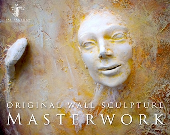 Winged Warrior. AVAILABLE Spiritual Wall Sculpture Art by Fae Factory Artist Dr Franky Dolan {3D clay relief canvas painting. See VIDEO!}