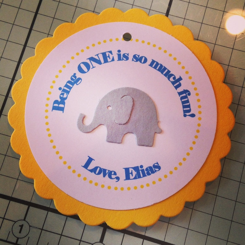 Circus Elephant Sweet Little Peanut Collection: Set of 8 Circle Favor Tags First Birthday. Baby Elephant Custom Colors Made to Order