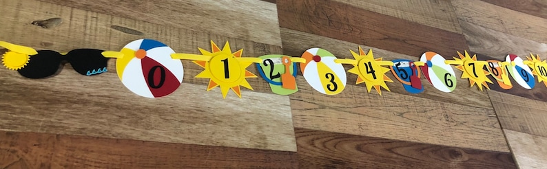 Die Cut Pieces Milestone First Birthday Monthly Photo Banner with clips Pictures Sand Bucket Ball Umbrella Sunglasses Beach Bum Collection