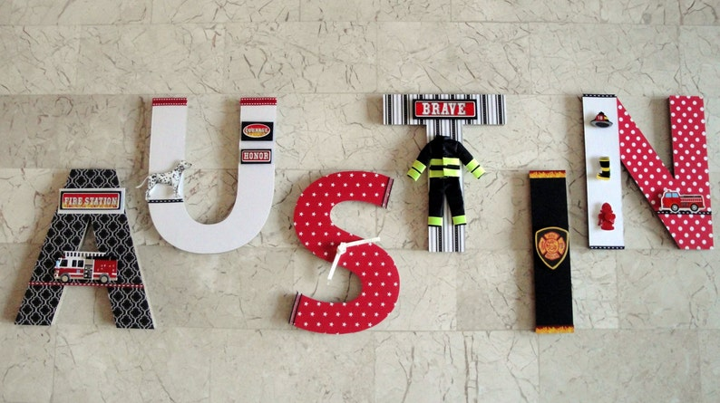 Fire Truck Wall Letters Fire Firghter Fire Station Wall Etsy