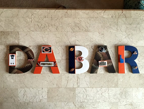 Chicago Bears Bar Wall Letters Nfl Football Sports Personalized Wall Decor Nfl Man Cave Bar Decor Sports Basement Personalized Gift