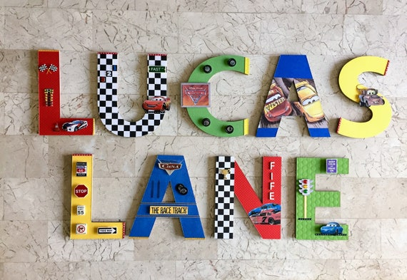 WOODEN LETTER NAME BLOCKS CUSTOM Personalised Nursery Baby Boy Racing Cars