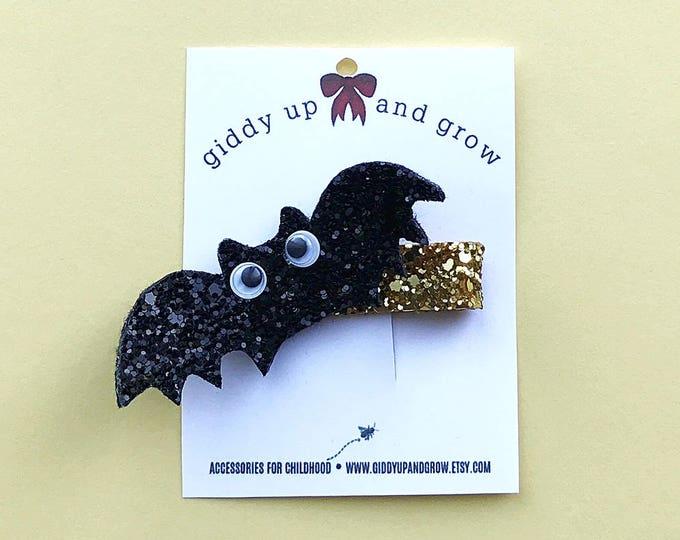 Halloween Bat Hair Bows, Glitter Clips for Fall, giddyupandgrow