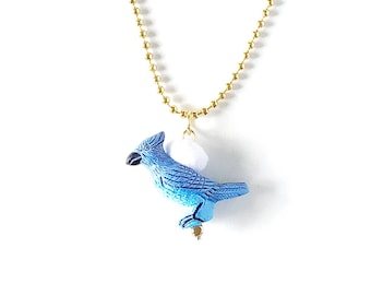 Animal Necklace for Little Girls, Blue Bird, Charm Necklace, giddyupandgrow