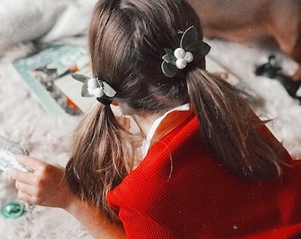 Christmas hair bows for girls White Holly Berries