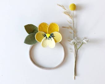 Yellow Pansy Flower Headband for baby and girls, giddyupandgrow