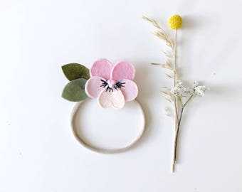 Pink Pansy Flower Headband for Baby and girls, giddyupandgrow