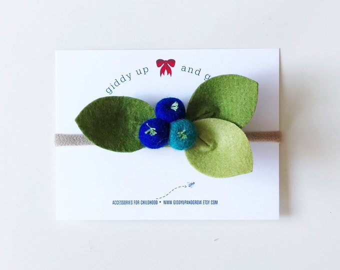 Blueberry Headband Felt Flowers, giddyupandgrow