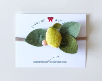 Lemon Headband Felt Flowers, giddyupandgrow