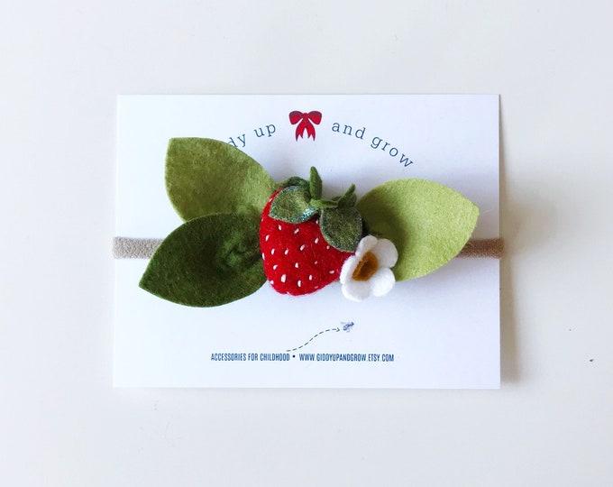 Strawberry Headband Felt Flowers, giddyupandgrow