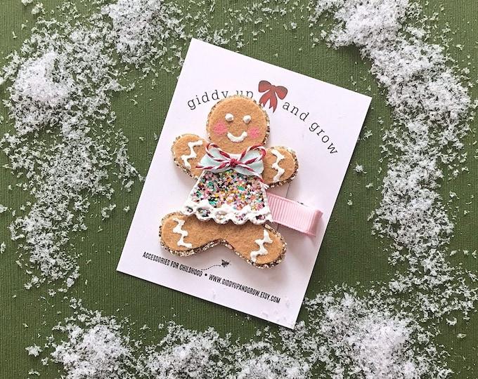 Holiday Hair Bows, Christmas Hair Clip Gingerbread Cookie, giddyupandgrow