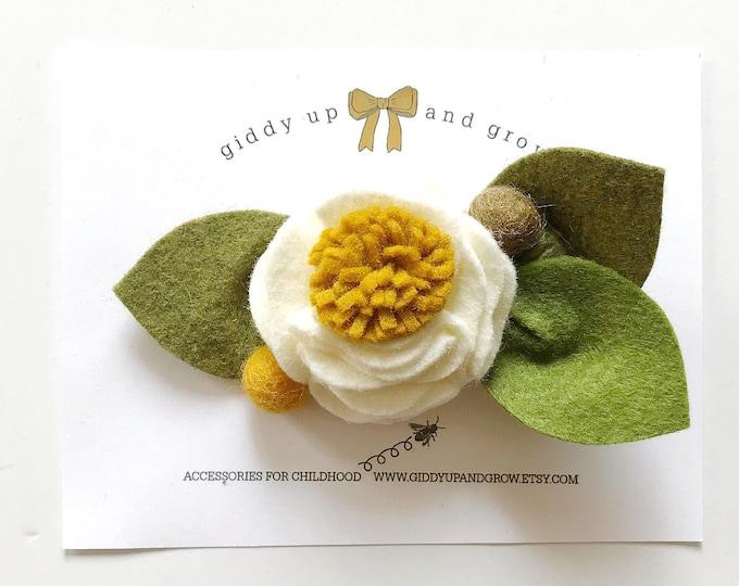 Squash Felt Flower Headband or Alligator Clip, Giddyupandgrow