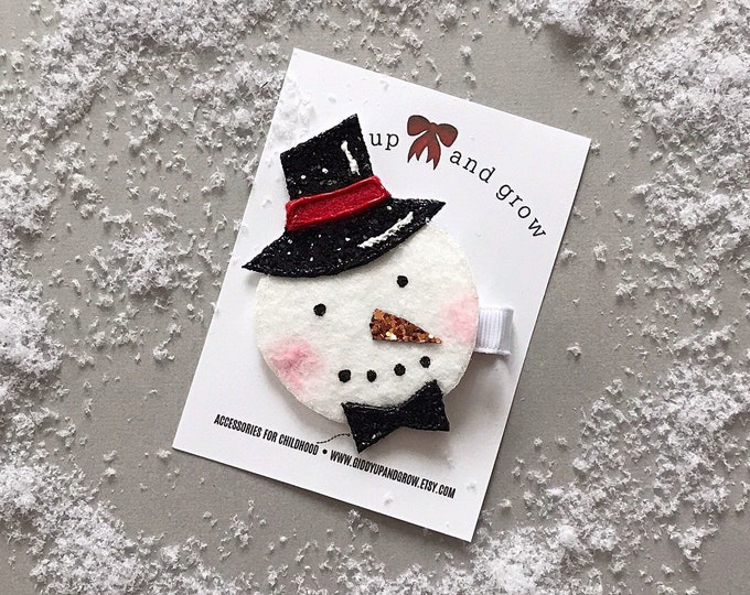 Holiday Hair Bows, Frosty the Snowman Clip, giddyupandgrow