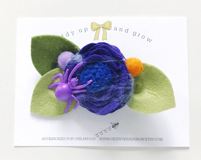 Mulberry Felt Flower Headband or Alligator Clip, Giddyupandgrow