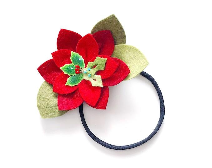 Christmas Flower Headband or Alligator Clip // Poinsettia Flower, Christmas Felt Flower
