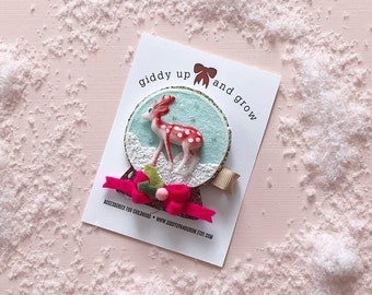 Holiday Hair Bows, Christmas Hair Clip Snowglobe, giddyupandgrow