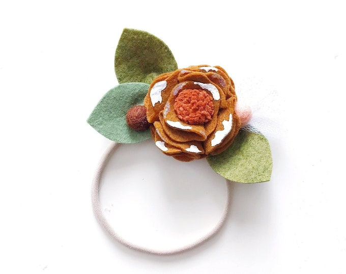 Single Flower Headband or Alligator Clip // Gingerbread, Christmas Felt Flower