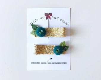 Blueberry Hair Clip Set Glitter Summer Fruit Giddyupandgrow