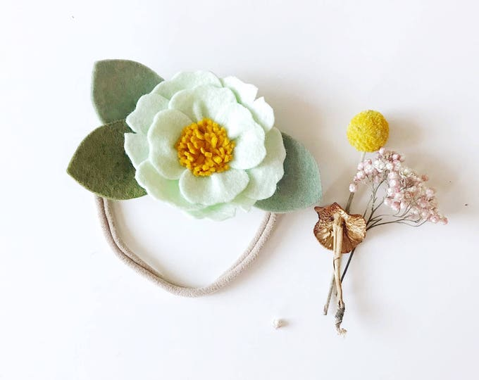 Peony Felt Flower Headband or Alligator Clip // Mint Green, Giddyupandgrow