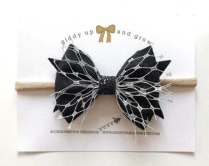 Black Widow Halloween Hair Bow Headband, giddyupandgrow