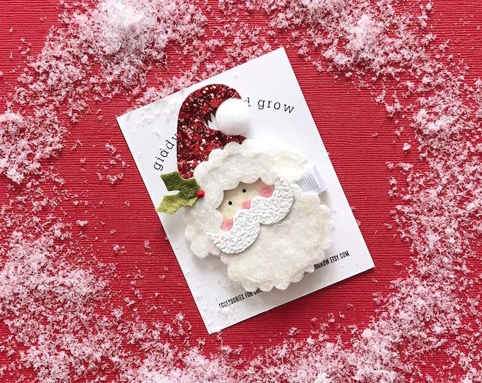 Holiday Hair Bows, Christmas Hair Santa, giddyupandgrow