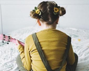 Pigtail Set Black Eyed Susan Flowers, Felt Flowers, giddyupandgrow