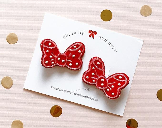 Minnie Mouse Red Pigtail Bows, Felt Hair Clip, giddyupandgrow
