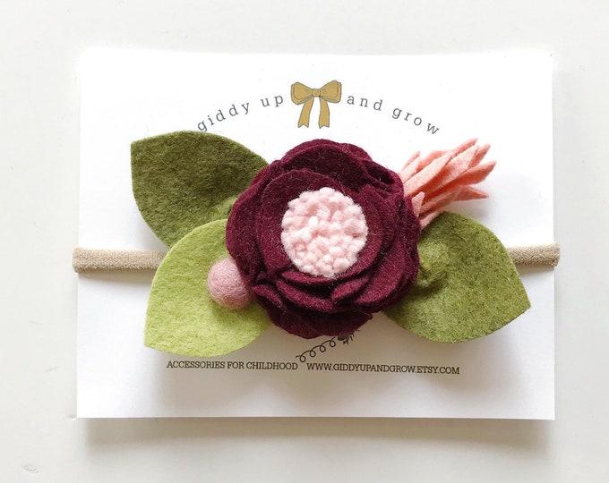 Burgundy Felt Flower Headband or Alligator Clip, Giddyupandgrow