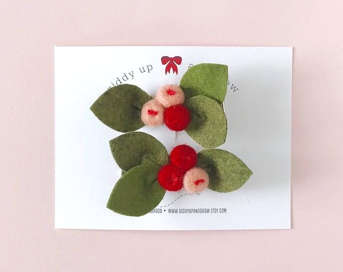 Pigtail Set Watermelon Bud Flowers, Felt Flowers, giddyupandgrow