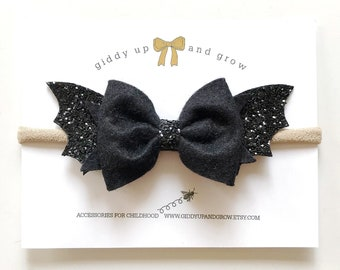Bat Halloween Hair Bow Headband, giddyupandgrow