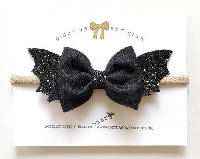Bat Halloween Hair Bow Headband, giddyupandgrow