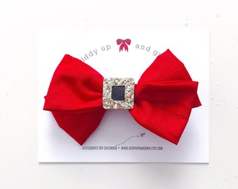 Holiday Hair Bows, Christmas Santa Hair Bow Clip, Holiday Gifts for girl, giddyupandgrow