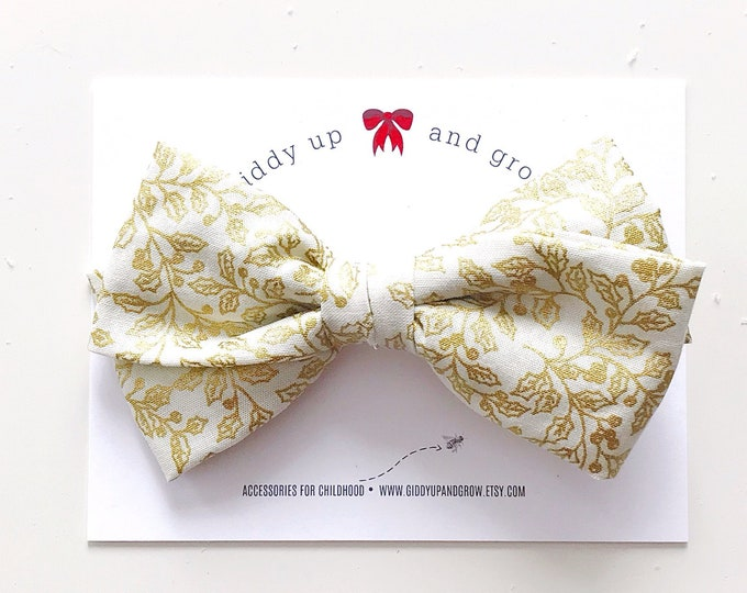 Oversize Christmas Bow in Ivory and Gold, Mouse King, giddyupandgrow