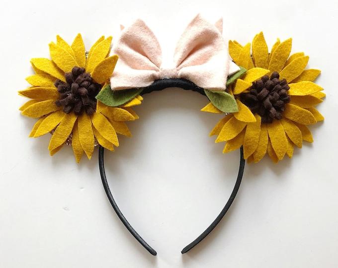 Fall Sunflower Mickey Mouse Ears Headband, giddyupandgrow
