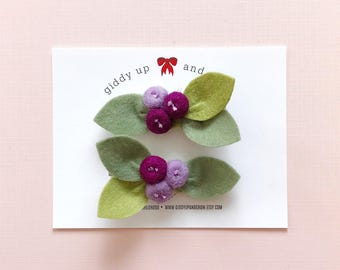 Pigtail Set Purple Bud Flowers, Felt Flowers, giddyupandgrow
