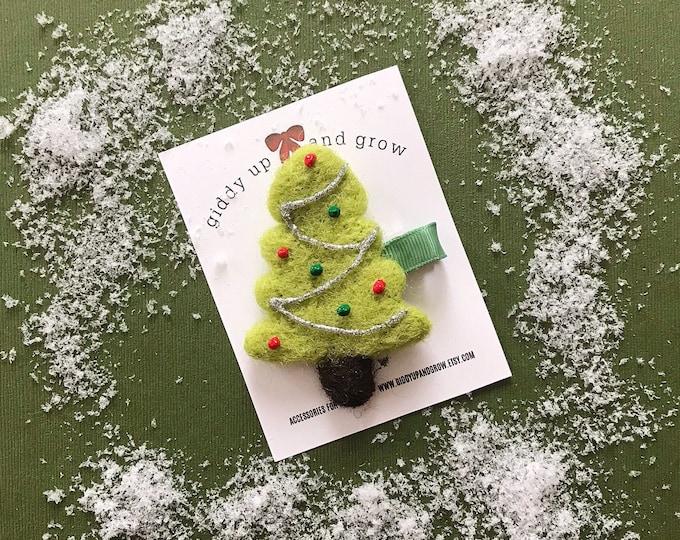 Holiday Hair Bows, Christmas Tree Hair Clip, giddyupandgrow