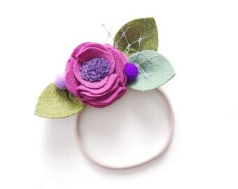 Sugarplum Fairy Christmas Felt Flower Headband giddyupandgrow
