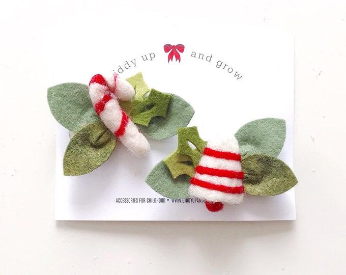 Festive Holiday Pigtail Clips, Christmas Felt Flower