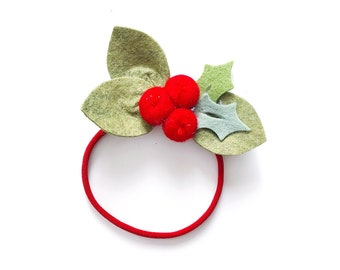 Christmas Flower Headband or Alligator Clip // Holly Berries, Christmas Felt Flower