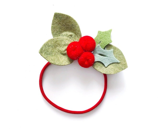 Christmas Flower Headband or Alligator Clip // Holly Berries, Christmas Felt Flower