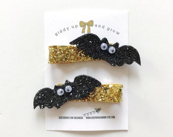 Bats Halloween Hairbows, giddyupandgrow