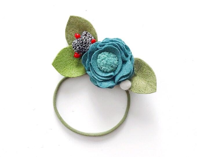 Single Flower Headband or Alligator Clip // Blue Spruce