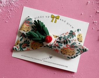 Christmas Hairbow Holly Berry, giddyupandgrow