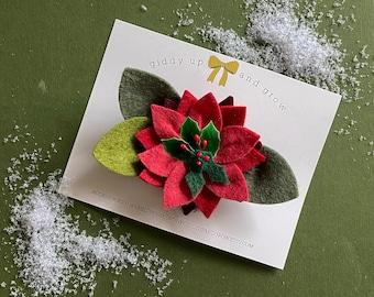 Poinsettia Christmas Flower Headband Giddyupandgrow