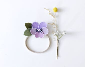 Purple Pansy Flower Headband for Baby and Girls, giddyupandgrow