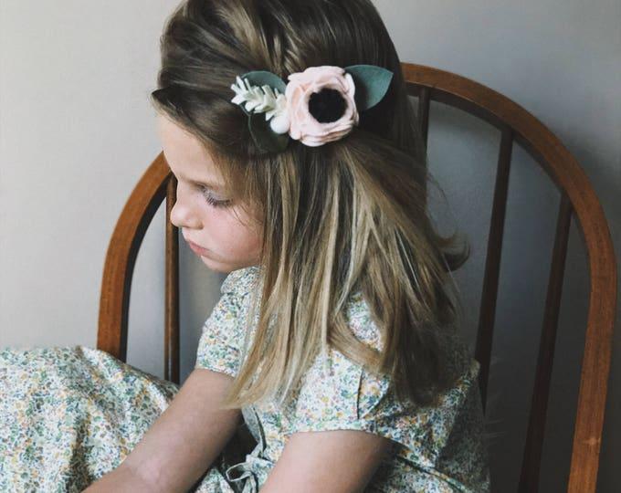 Felt Flower Headband or Alligator Clip // Swan Pink, Giddyupandgrow